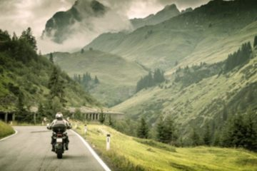 motorcyclist on a mountainous highway